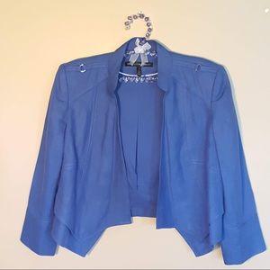 WHBM blue cropped linen blend jacket blazer size 6